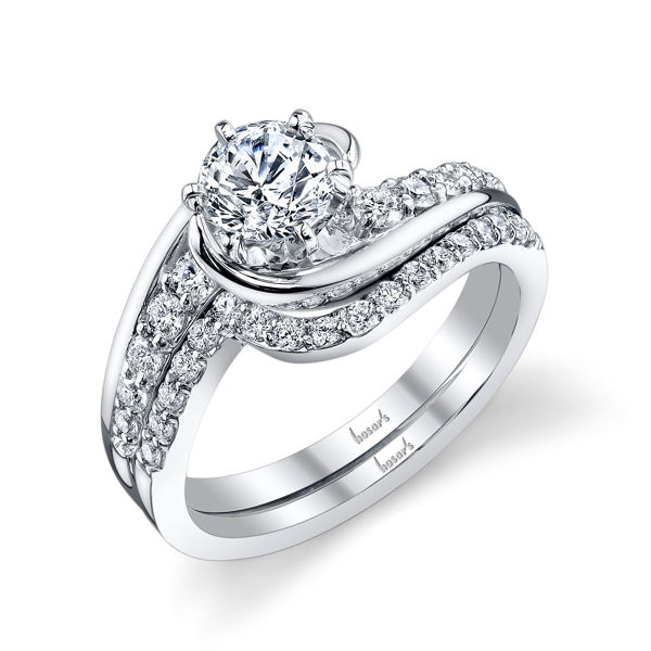 14kt White Gold Swirling Engagement Ring