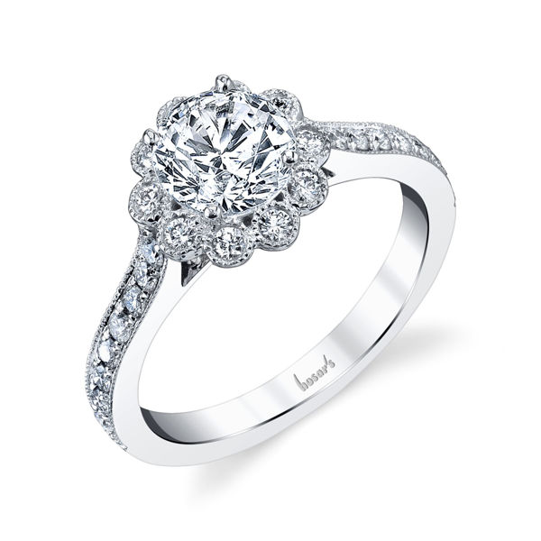14kt White Gold Floral Halo Engagement Ring