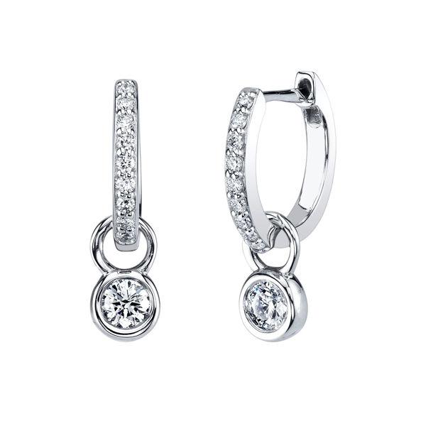 14kt White Gold Two in One Diamond Hoop Earrings