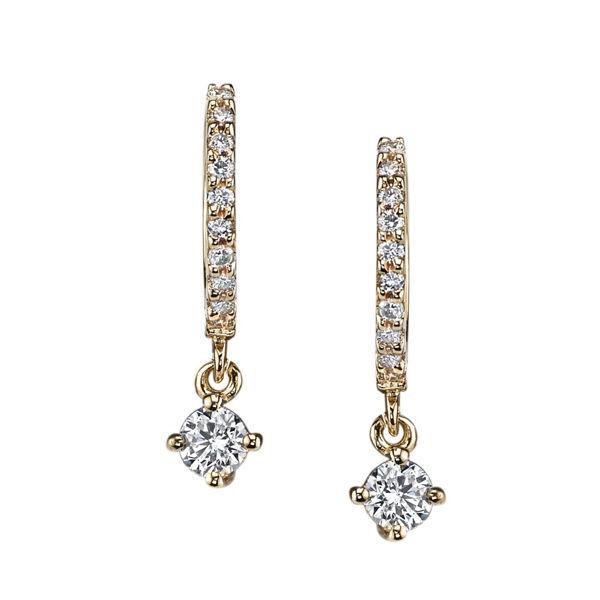 14kt Yellow Gold Diamond Huggies with Prong Set Diamond Drop