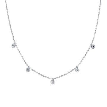 14kt White Gold Cleopatra Bezel Set Diamond Necklace