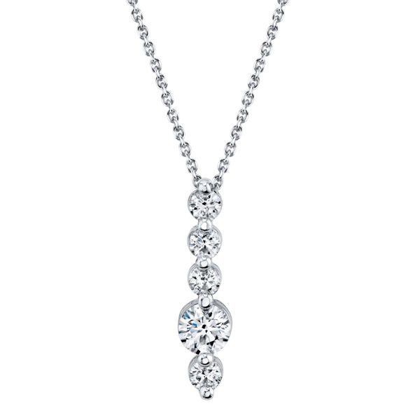 14kt White Gold Vertical Shared Prong Diamond Bar Pendant