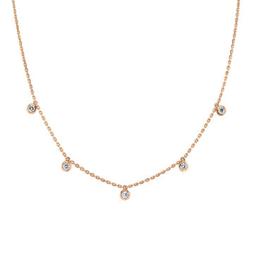 14kt Rose Gold Cleopatra Bezel Set Diamond Necklace