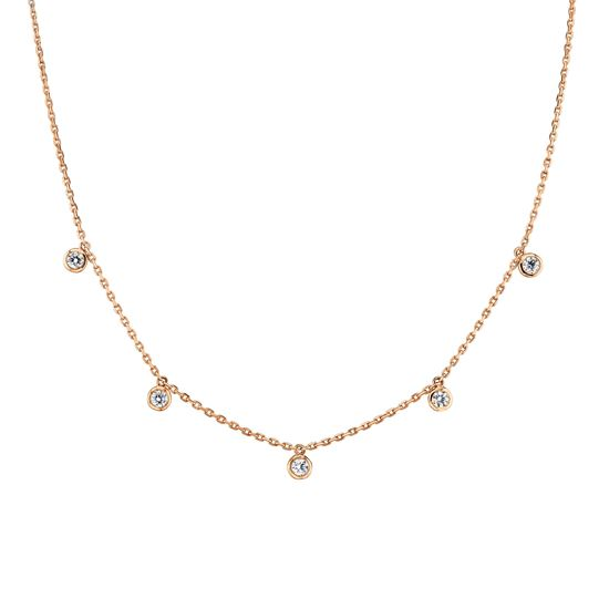 14kt Rose Gold Cleopatra Bezel Set Diamond Necklace