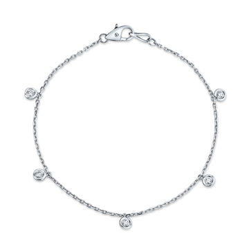 14kt White Gold Cleopatra Bezel Set Diamond Bracelet