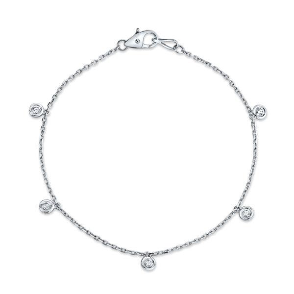 14kt White Gold Cleopatra Bezel Set Diamond Bracelet