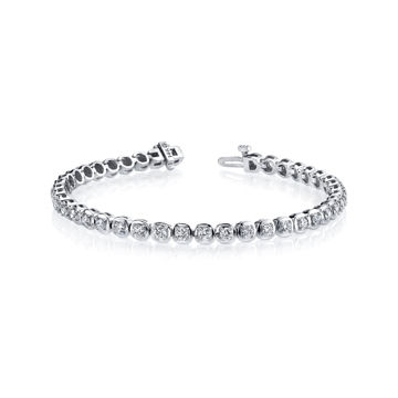 14kt White Gold Cushion Linked Diamond Tennis Bracelet