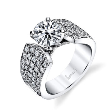 14kt White Gold Wide Pave Set Diamond Engagement Ring