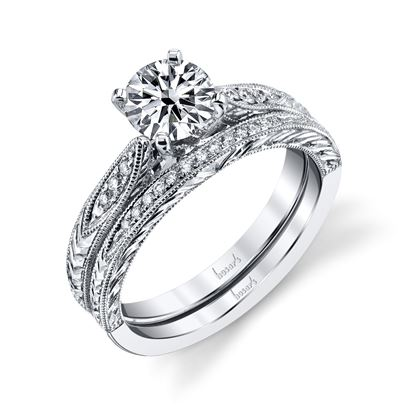 14kt White Gold Hand Engraved Diamond Engagement Ring