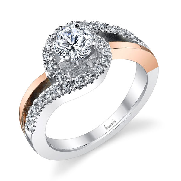 14kt White and Rose Gold Twisting Diamond Engagement Ring