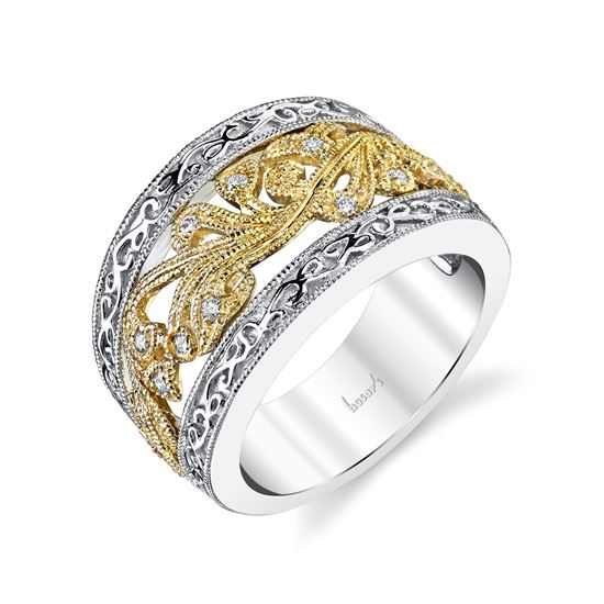 14kt White and Yellow Gold Vintage Scrolling Diamond Band