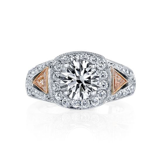 14kt White Gold Halo Engagement Ring with Trillion Accents