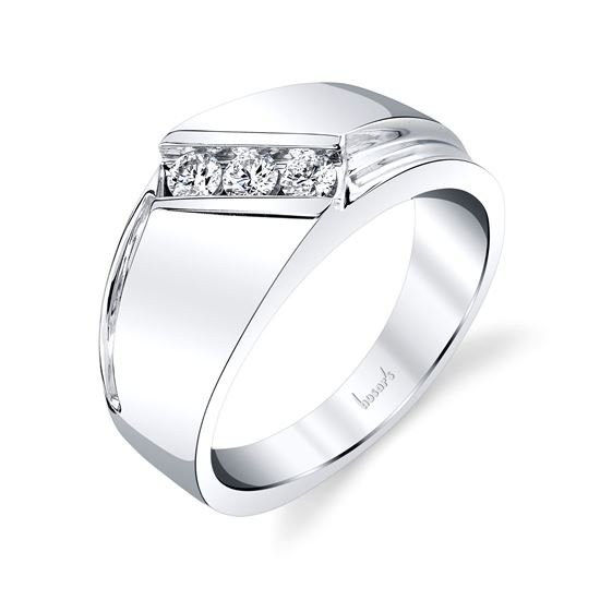 14kt White Gold Bypass Style Gents Wedding Band