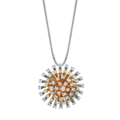 14kt White, Yellow, and Rose Gold Firework Pendant