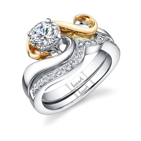 14kt White and Yellow Gold Swoop and Swirl Engagement Ring