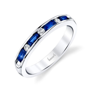 14kt White Gold Channel Set Baguette Sapphire and Round Diamond Band
