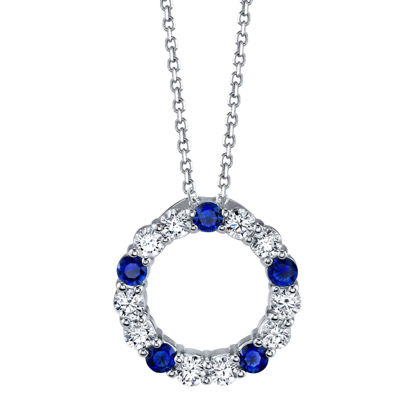 14kt White Gold Blue Sapphire and Diamond Circle Pendant