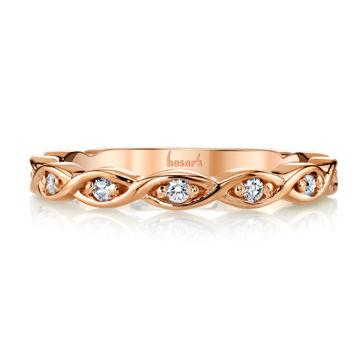 14kt Rose Gold Twisted Diamond Band