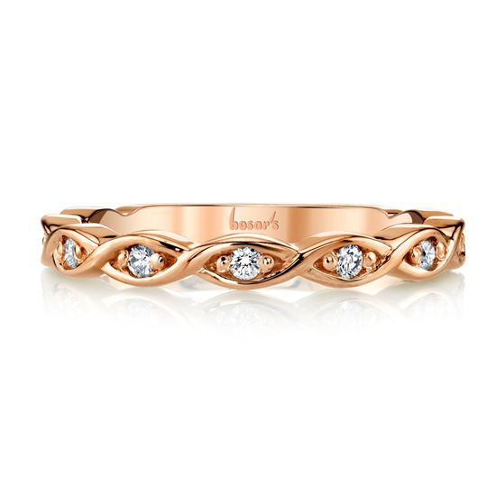 14kt Rose Gold Twisted Diamond Band