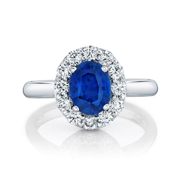 18kt White Gold Diamond Halo Oval Sapphire Ring