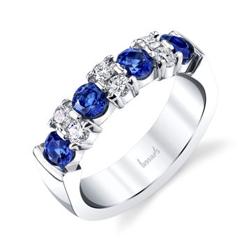 14kt White Gold Natural Sapphire and Diamond Garland Band