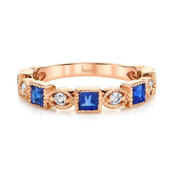 14kt Rose Gold Princess Cut Blue Sapphire and Round Diamond Milgrained Ring