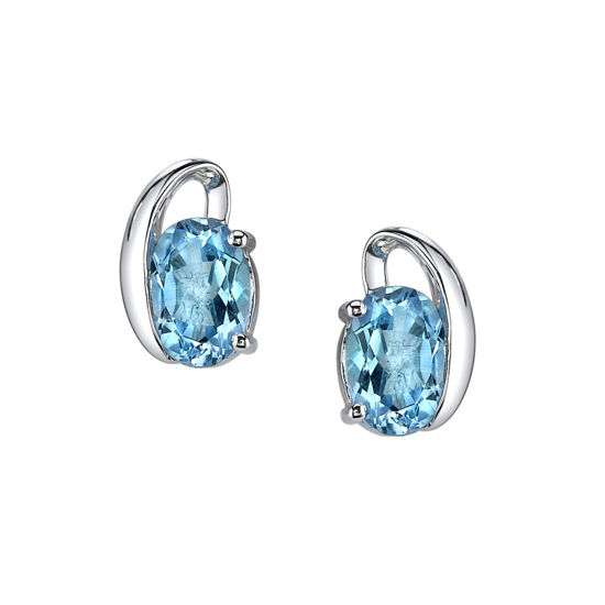 Picture of 14Kt White Gold Swirl Design Oval Blue Topaz Stud Earrings