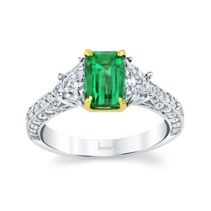 18kt White and Yellow Gold Natual Emerald and Diamond Three Stone Ring