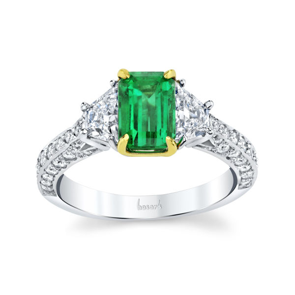 18kt White and Yellow Gold Natual Emerald and Diamond Three Stone Ring