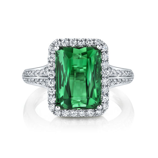 18kt White Gold Exquisite Green Tourmaline and Diamond Ring