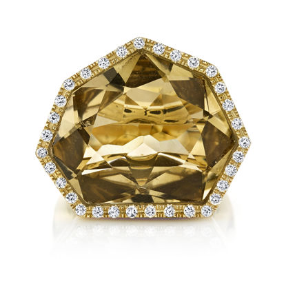 14kt Yellow Gold Heptagonal Smokey Quartz with Diamond Bezel
