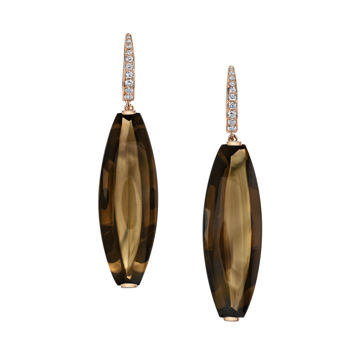 14kt Rose Gold Smokey Quartz and Diamond Earrings