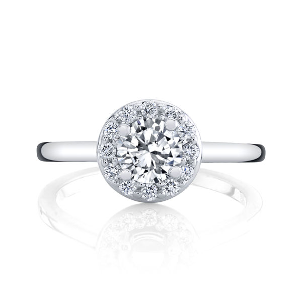 14kt White Gold Simple Halo Engagement Ring