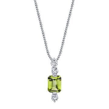 14kt White Gold Emerald Peridot and Diamond Pendant