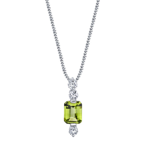 14kt White Gold Emerald Peridot and Diamond Pendant