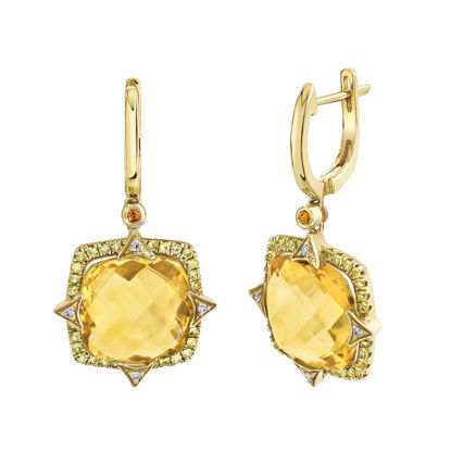 14kt Yellow Gold Citrine and Yellow Sapphire Halo Drop Earrings