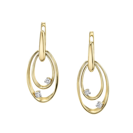 14Kt Yellow Gold Double Oval Earrings with Scattered Diamonds