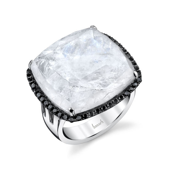14kt White Gold Moonstone and Mother of Pearl Black Diamond Halo Ring