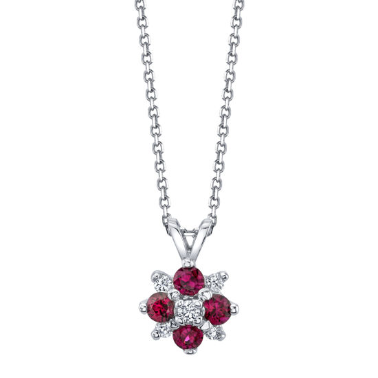 14kt White Gold Natural Ruby and Diamond Cluster Pendant