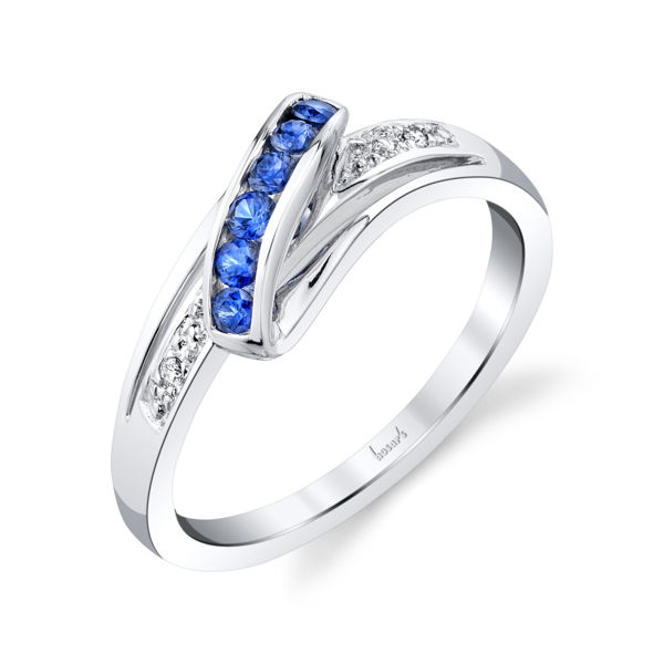 14kt White Gold Natural Sapphire and Diamond Ribbon Ring