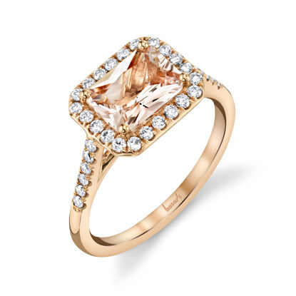 14kt Rose Gold Radiant Morganite Halo Ring