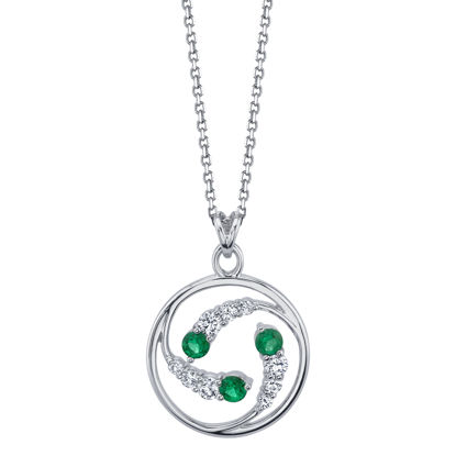 14kt White Gold Natural Emerald and Diamond Circle Pendant