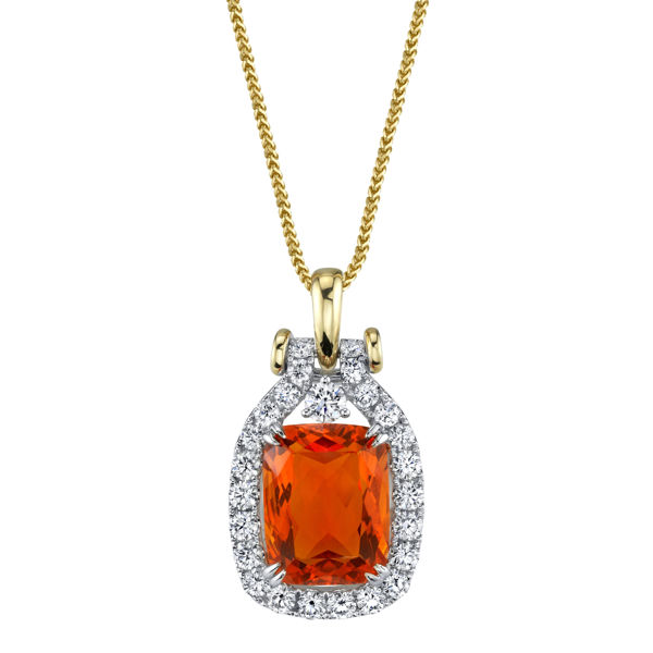 14kt White and Yellow Gold Fire Opal Halo Pendant