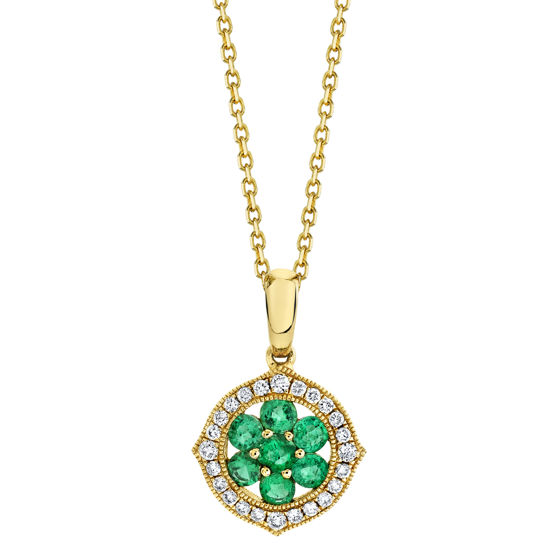 14kt Yellow Gold Natural Emerald and Diamond Halo Cluster Pendant