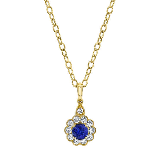 14kt Yellow Gold Natural Sapphire and Diamond Halo Pendant