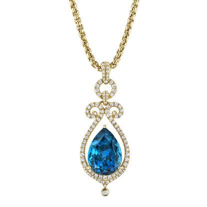 14kt Yellow Gold Crown Jewel London Blue Topaz Pendant
