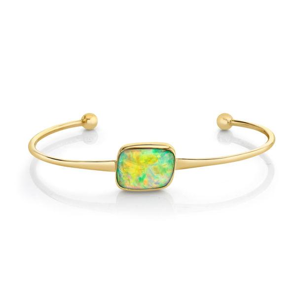 14kt/22kt Bezel Set Retangular Ethiopian Opal Cuff Bracelet
