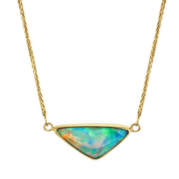 14kt/22kt Yellow Gold Bezel Set Triangular Ethiopian Opal Necklace