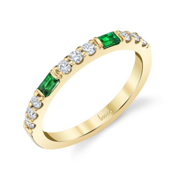 14kt Yellow Gold Baguette Emerald and Round Diamond Stackable Band
