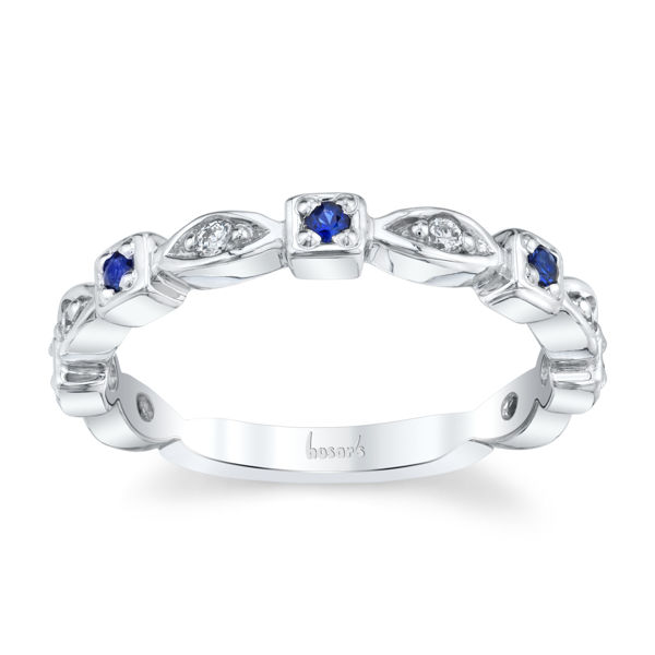 14kt White Gold Natural Sapphire and Diamond Stackable Band